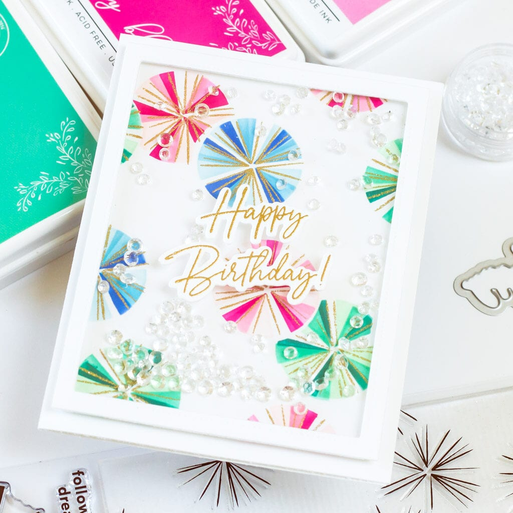 Pinkfresh Studio Seamless Starburst Birthday Shaker Card