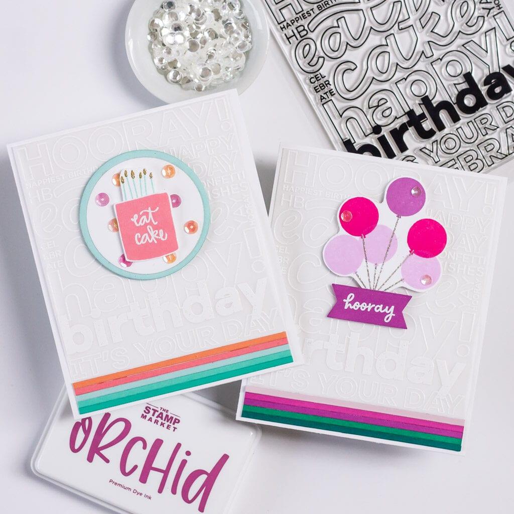 The Stamp Market Happy Birthday Background Stamp, 2 Ways