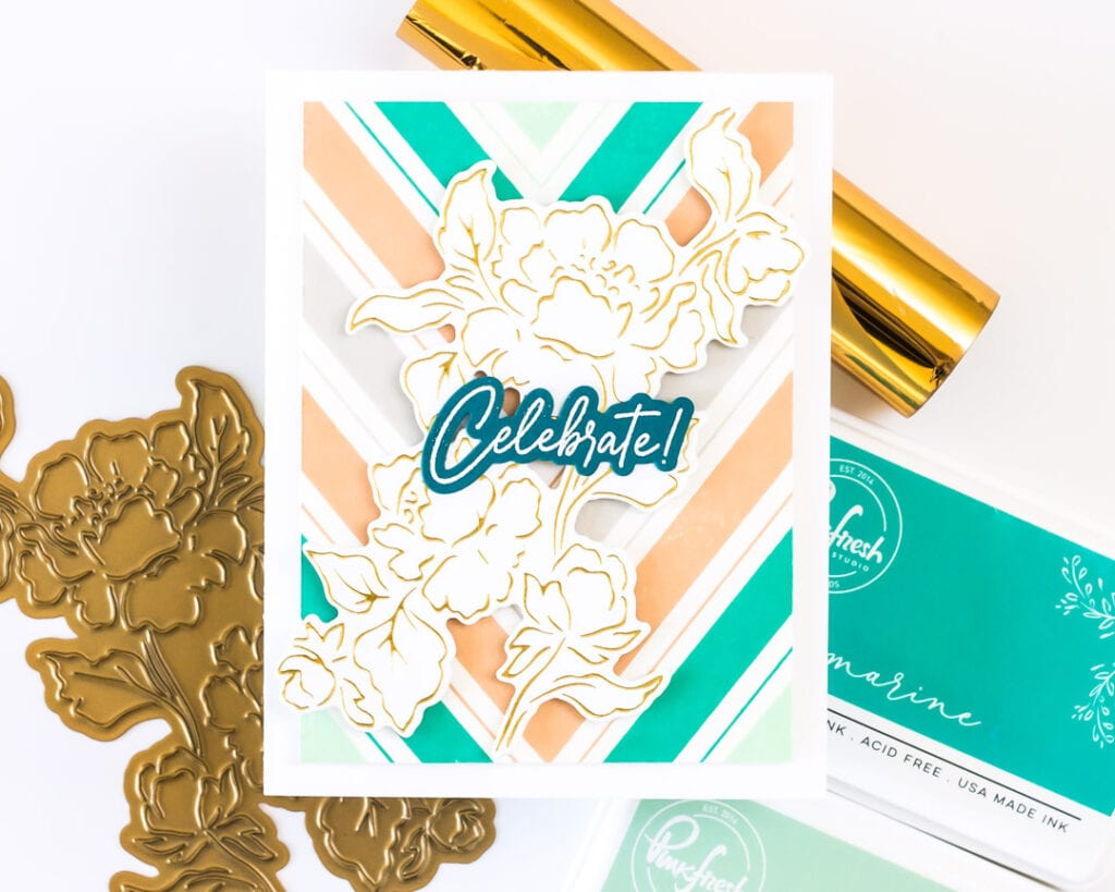 Gold Foiled Joyful Peonies Card - featuring Pinkfresh Studio