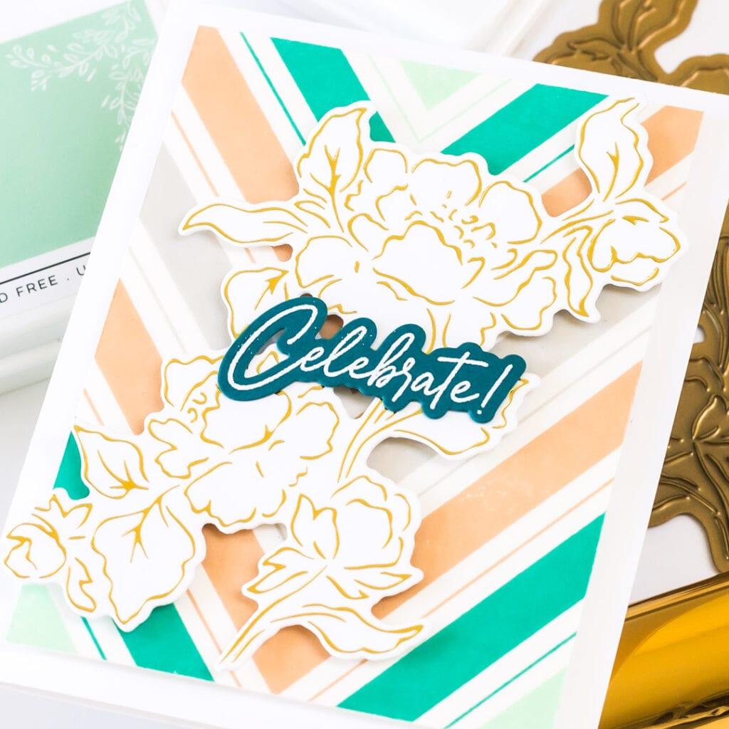 Gold Foiled Joyful Peonies Card - featuring Pinkfresh Studio