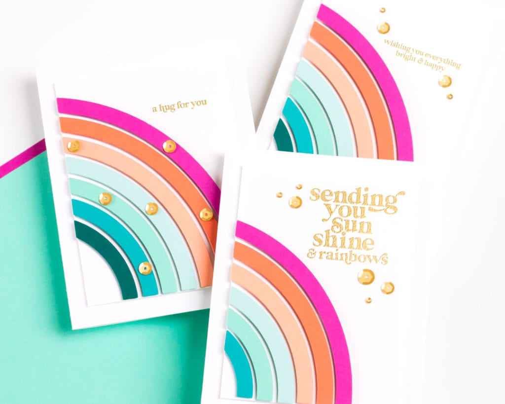 Sunshine and Rainbows Coordinated Card Set featuring The Stamp Market and Pinkfresh Studio