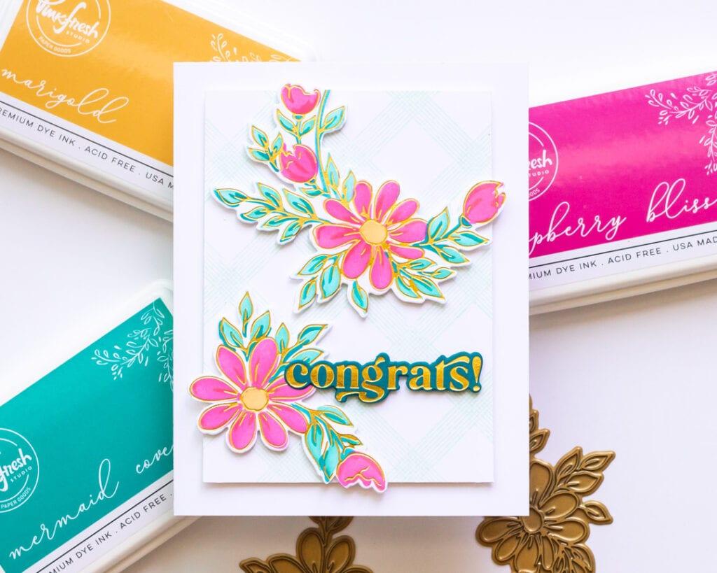 Gold Foil Daisy Wreath Card