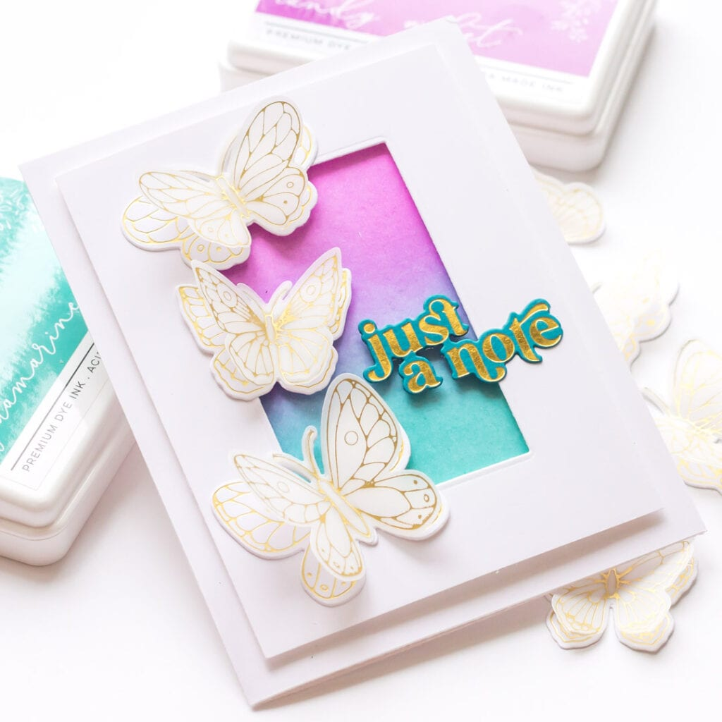 Mini Gold Foil Butterfly Cards - featuring Pinkfresh Studio Small Butterflies foil plate and dies
