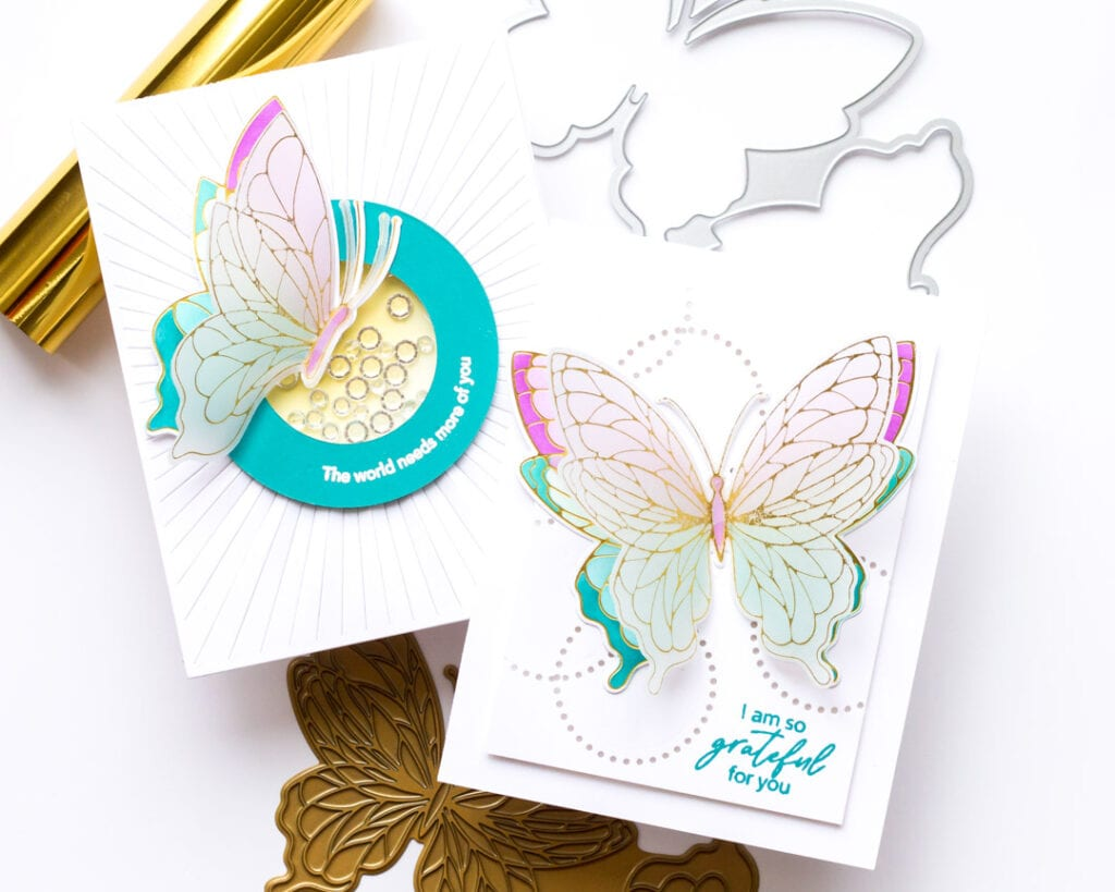 Pinkfresh Studio Butterflies Hot Foil Cards