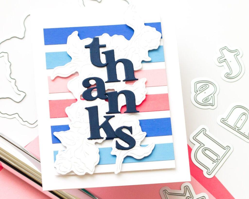 Pinkfresh Studio June Challenge - Die Cuts - Joyful Peonies Thank You Card