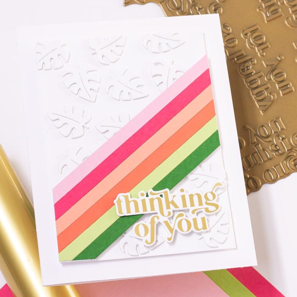 Monstera Thinking of You Card featuring Pinkfresh Studio Garden Wreath die set