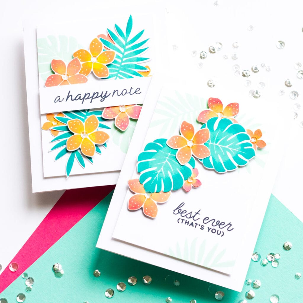 Two-Tone Stamped Monstera Cards