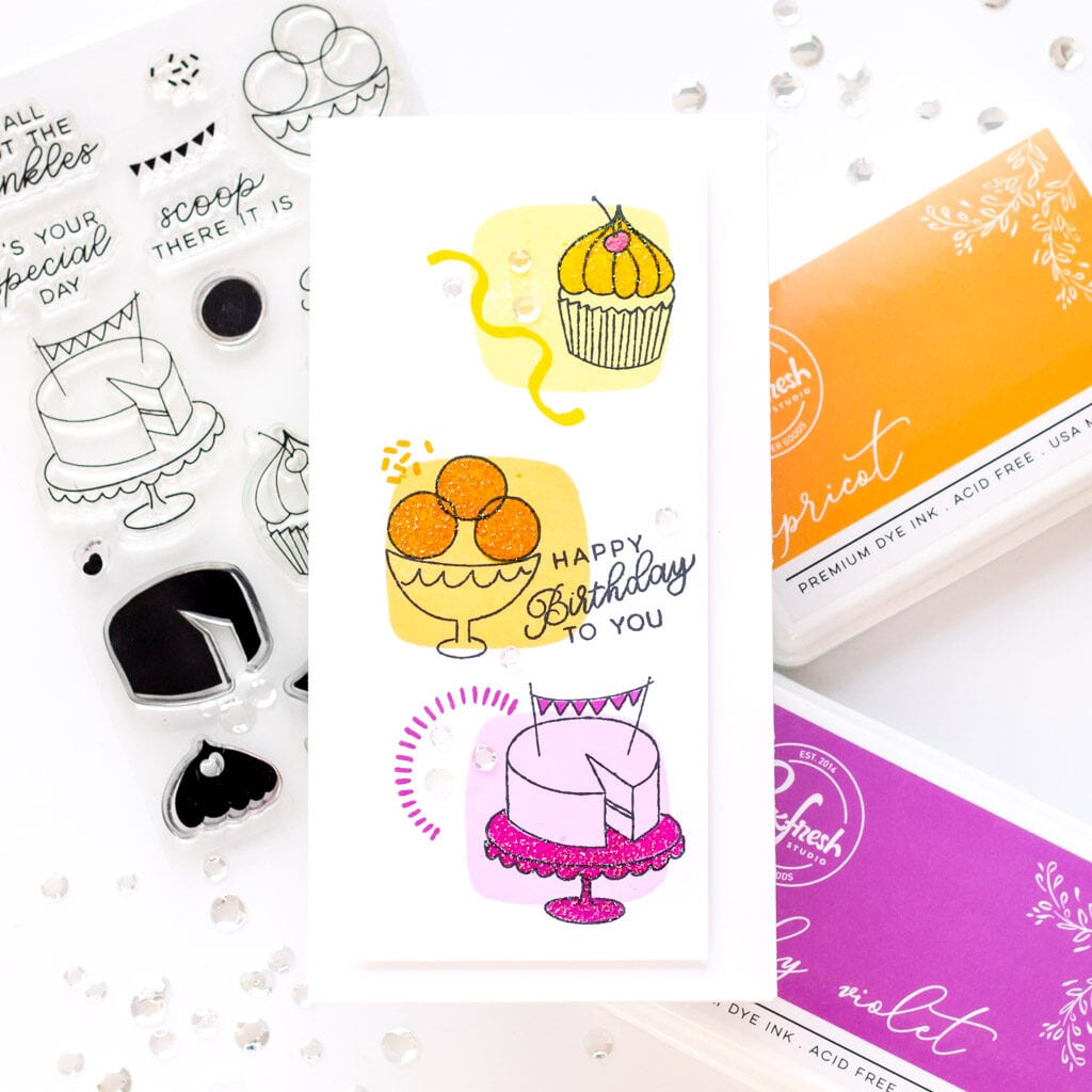 2 Clean and Simple Birthday Cards - featuring Essentials by Ellen Cake Stamp Set