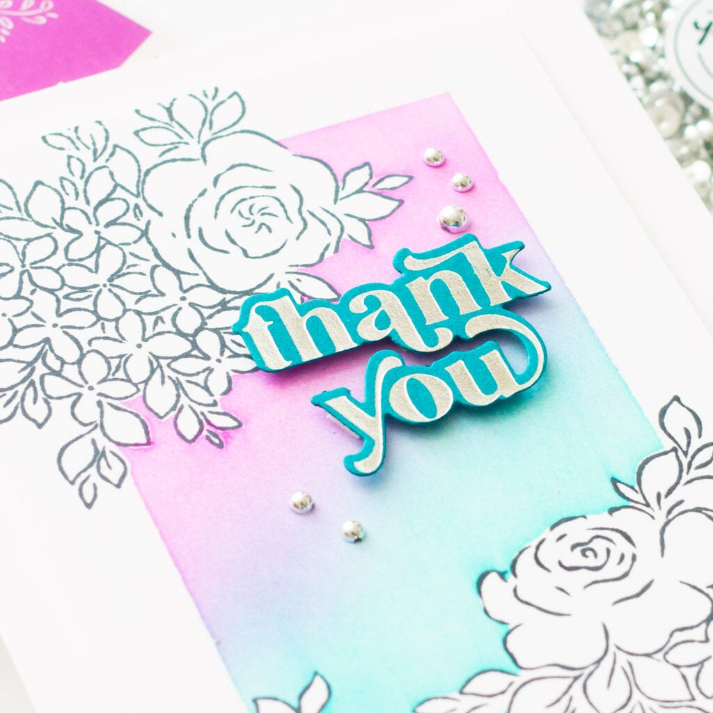 Floral Thank You Card with Stamp Masking - featuring Pinkfresh Studio