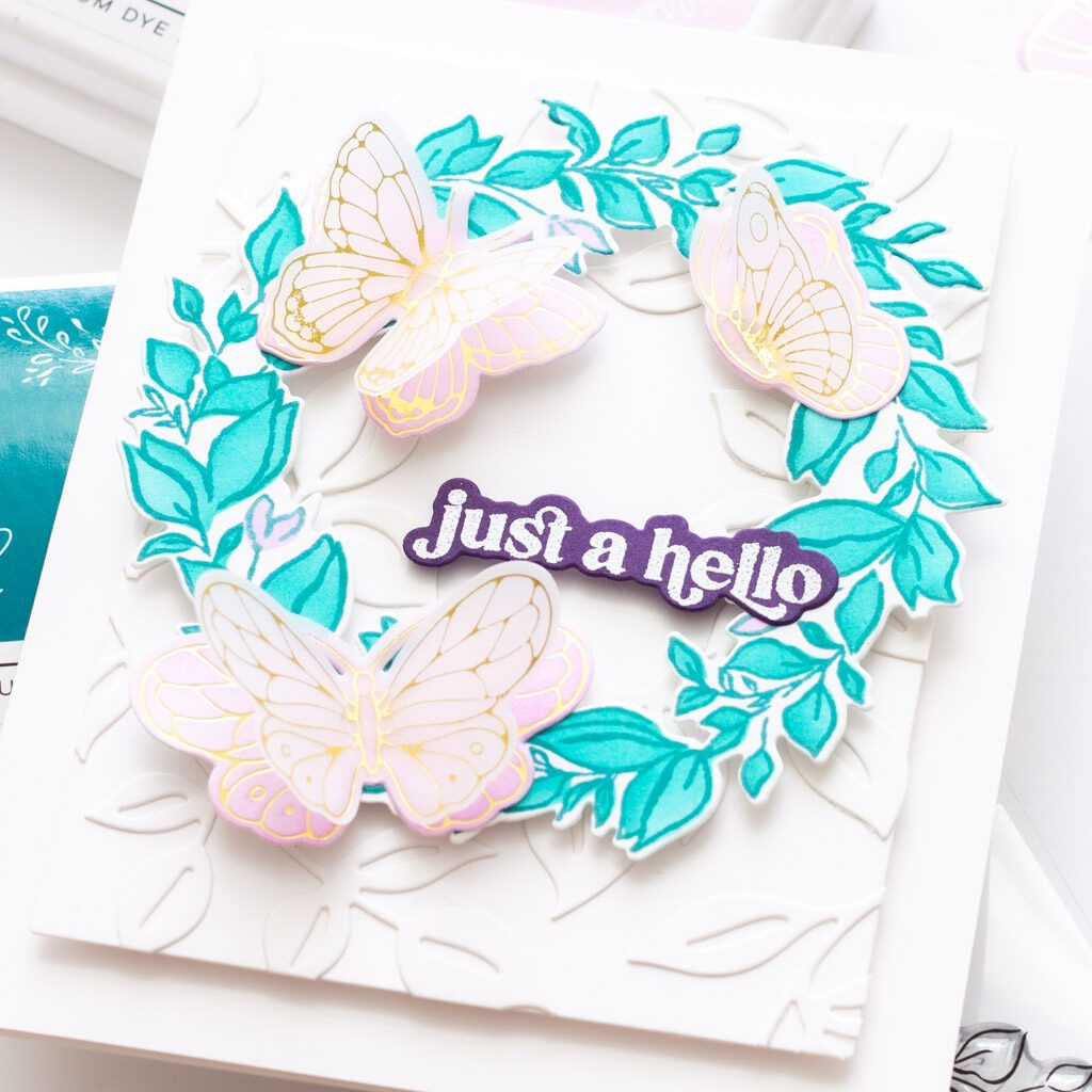 Pinkfresh Studio Indigo Vines Handmade Card with Small Butterflies