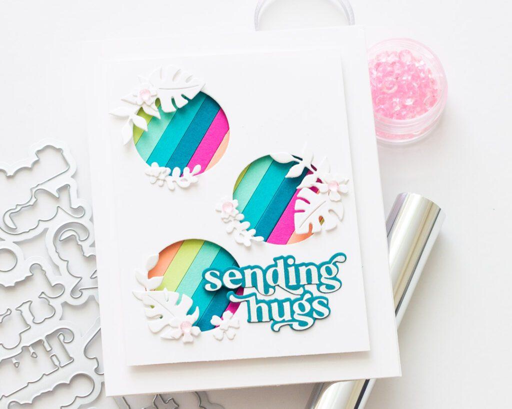 Pinkfresh Studio August Challenge - Striped Monstera Card