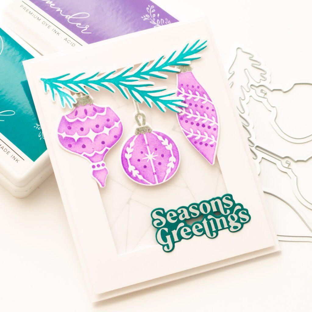 Pinkfresh Studio Holiday Ornaments Stencil Card
