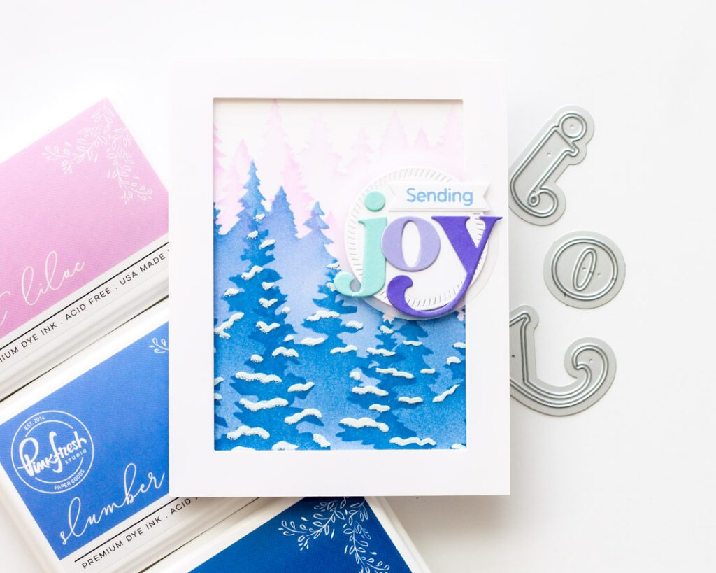 Sending Joy - Pinkfresh Studio Sparkling Wintry Forest Card